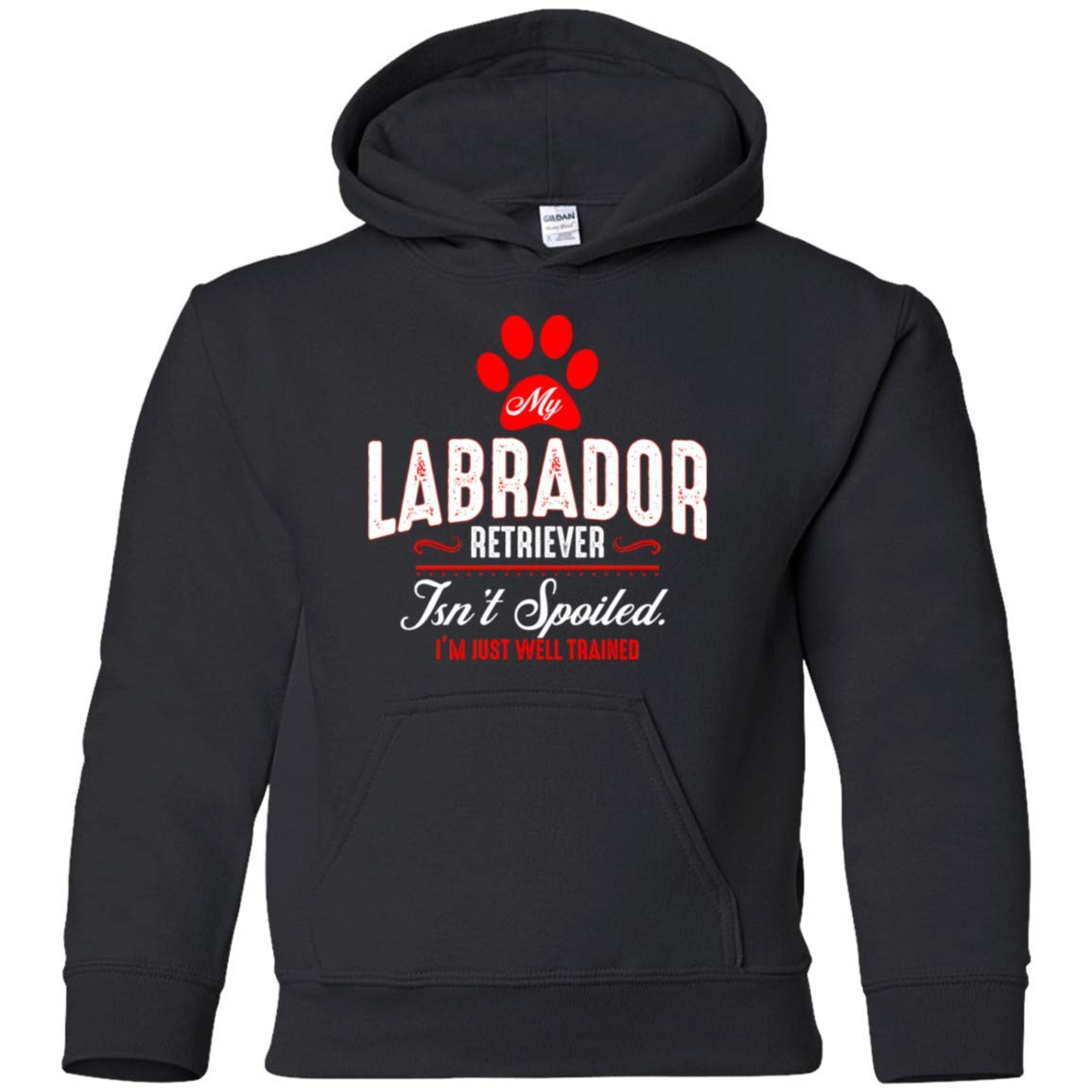 Teely Shop Little Girls My Labrador Retriever Isnt Spoiled Im Just Well Trained G185B Gildan Youth Pullover Hoodie
