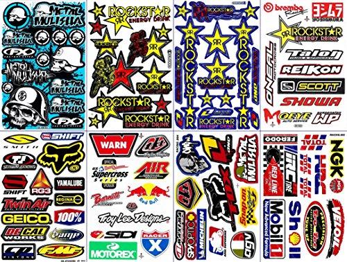 8 Rockstar Energy Drink Metal Mulisha Yamaha Kawasaki Motorcross Race Racing F1 Logo Sponsor Sticker Decal Skateboard Car Bike Bicycle Kid Wall Helmet Decoration Set8-4