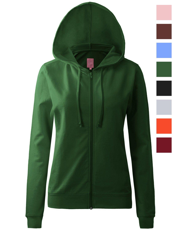 Regna X Womens Long Kangaroo Pocket Tunic Full Zip Hooded Sweatshirt Green S