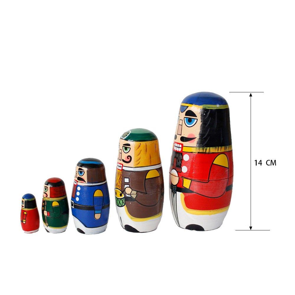FunnyGoo Colourful Handmade Wooden Nesting Doll Russian Doll Kits Xmas Decoration Nutcracker Soldier