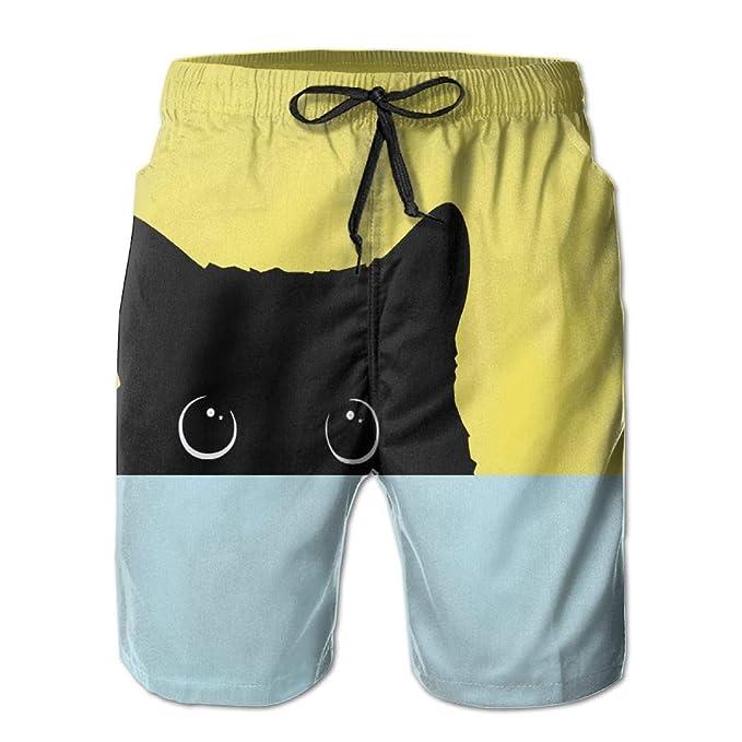 391e826264 Amazon.com: Black Cartoon Cat Men's Beach Surfing Board Shorts Swim Trunks  Pants: Clothing