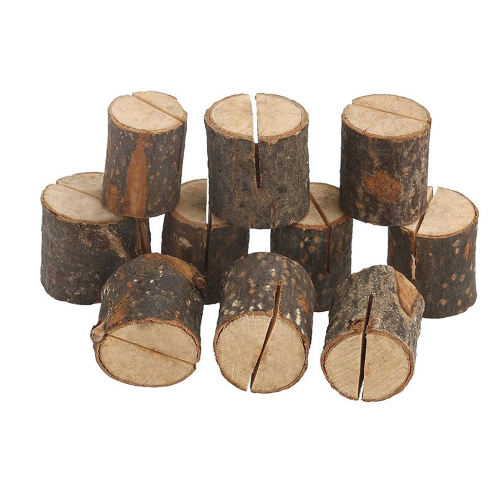 Rustic Real Wood Base Wedding Table Name Number Holder Party Decoration Card Holders Picture Memo Note Photo Clip Holder(10PCS)