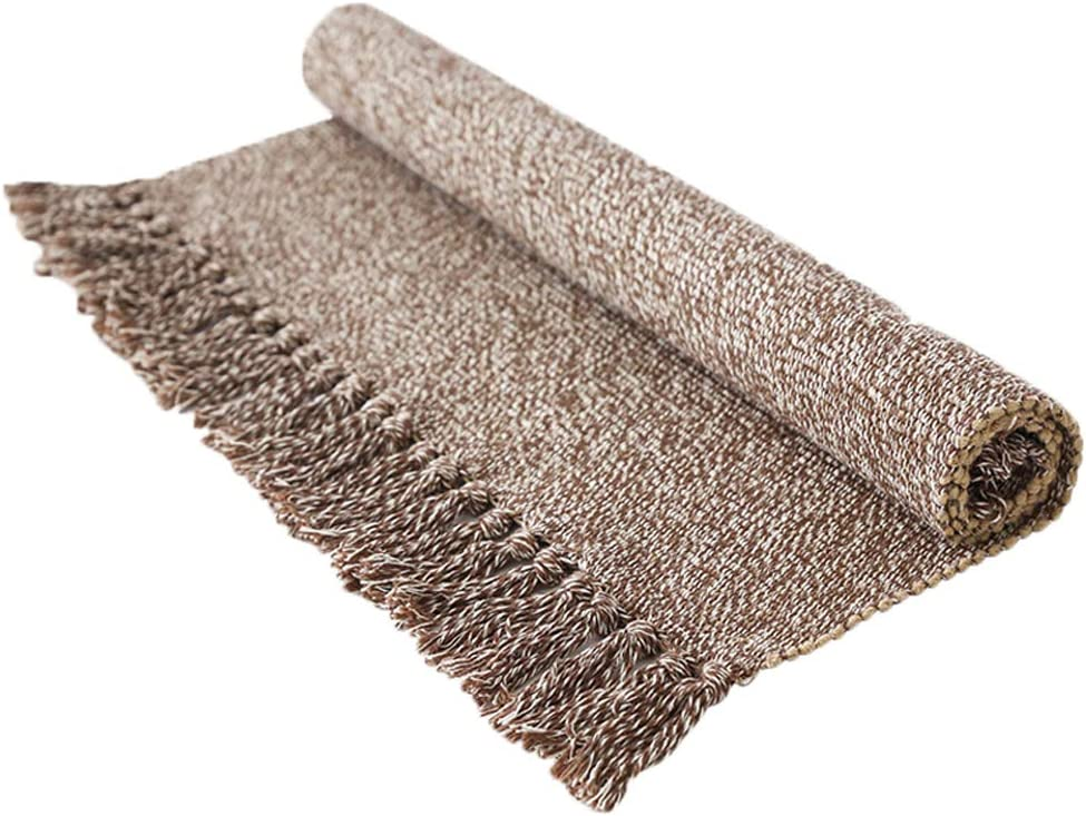 Wolala Home Hand Woven Cotton Tassel Design Area Rug Rug Runner Throw Rug for Bedroom Kitchen Living Room Laundry Room Entryway (2'x6', Light Brown)