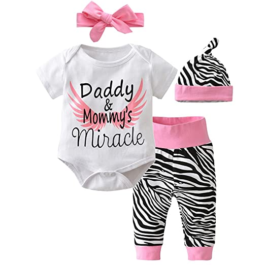a8d40e92a Amazon.com  Scfcloth Newborn Baby Girls Daddy and Mommy s Miracle ...