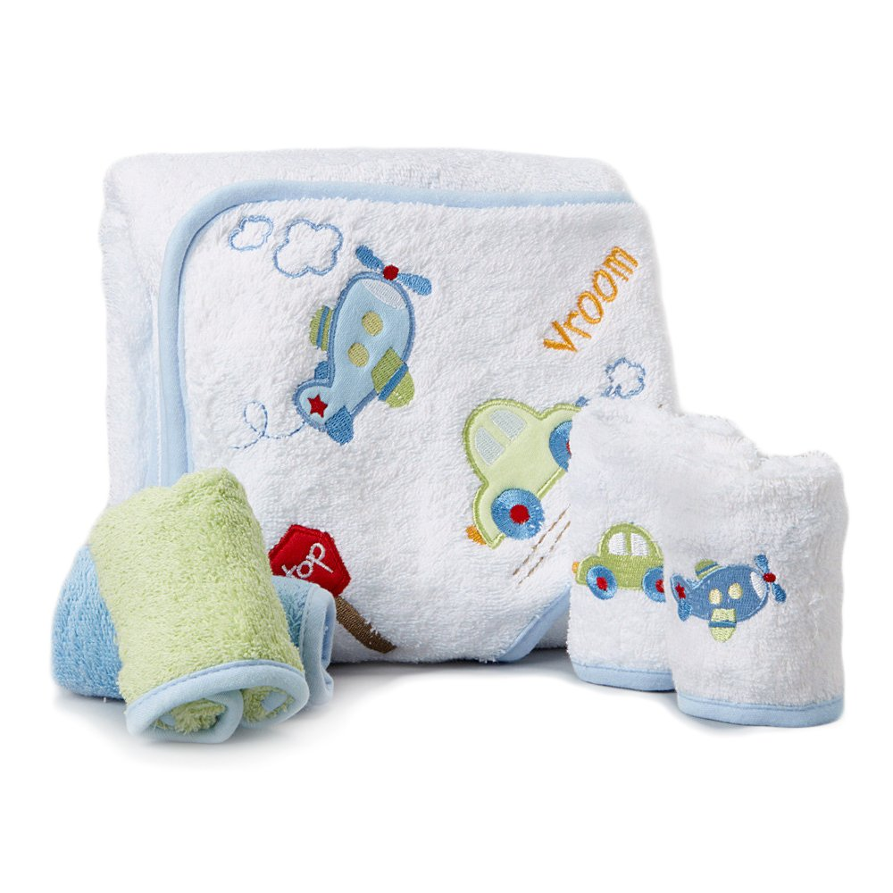 Spasilk 100-Percent Cotton Hooded Terry Bath Towel with 4 Washcloths, Dinosaur Blue/Green HT SET 08