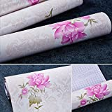 SimpleLife4U Self-Adhesive Shelf Drawer Liner Removable Contact Paper for Covering Ugly Makeup Storage Units, Retro Peony, 17.7 Inch By 9.8 Feet