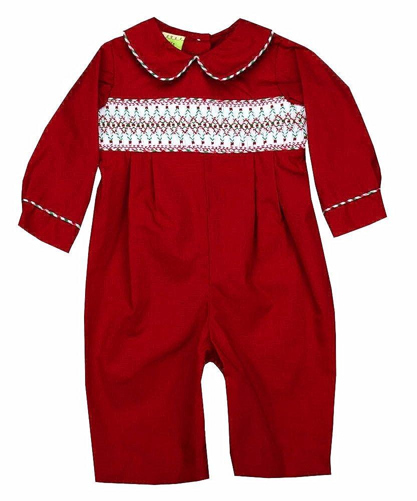 Le Za Me Red Smocked Romper-12M 9005-943