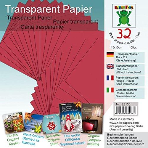 Transparentpapier Rot 15 x 15 cm: Material für
