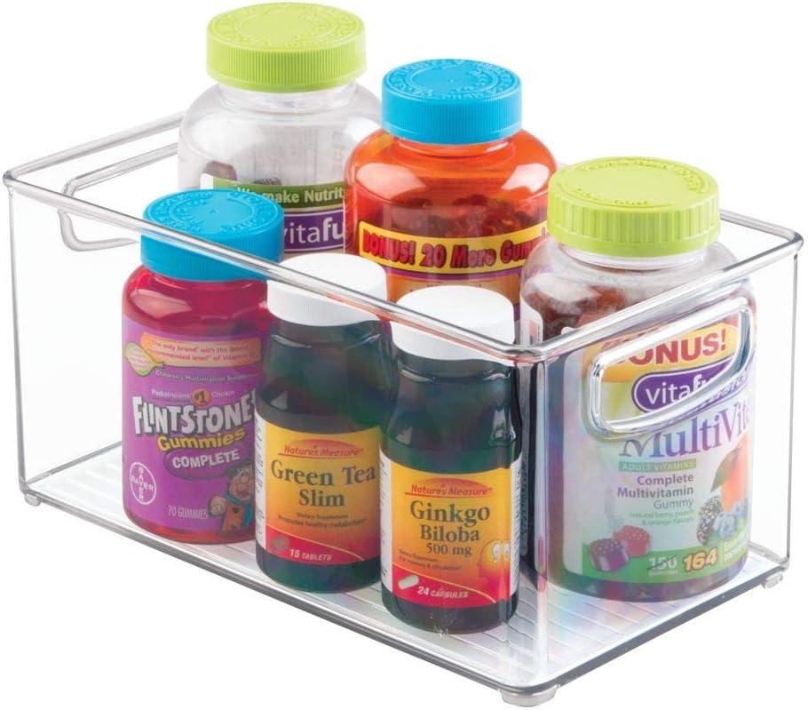 mDesign Juego de 4 cajas de pl/ástico apilables con asas integradas Caja organizadora transparente con bonito dise/ño transparente Ideal como organizador de medicamentos en el hogar