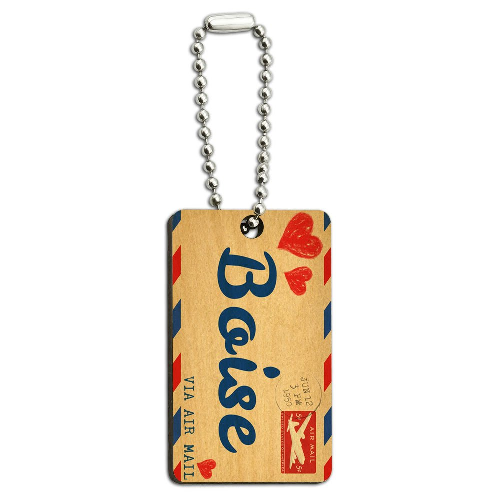 Air Mail Postcard Love for Boise Wood Wooden Rectangle Key Chain