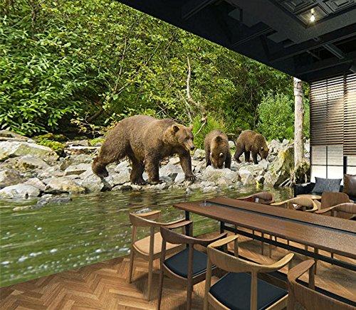 Black Bear Wallpaper (3D Black Bear River 643 Wall Paper Wall Print Decal Wall Deco Indoor wall Murals Removable Wall Mural | Self-adhesive Large Wallpaper , AJ WALLPAPER Carly (123