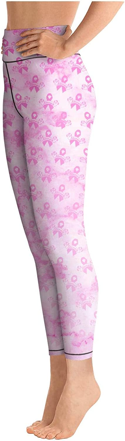 Yoga Capri Leggings for Womens Workout Leggings Marble Breast Cancer Awareness Pink Ribbon Banners High Waist Gym Tights
