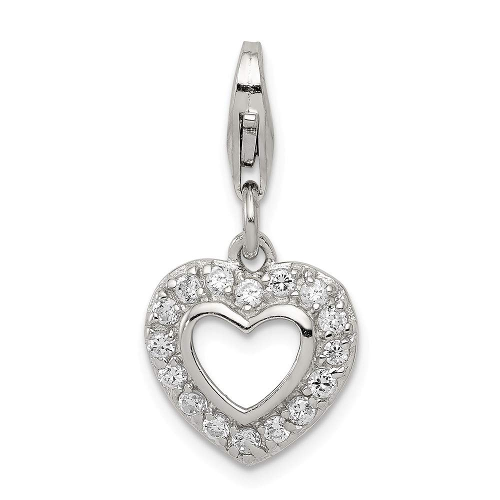 Solid 925 Sterling Silver CZ Cubic Zirconia Heart Pendant Charm 13mm x 24mm