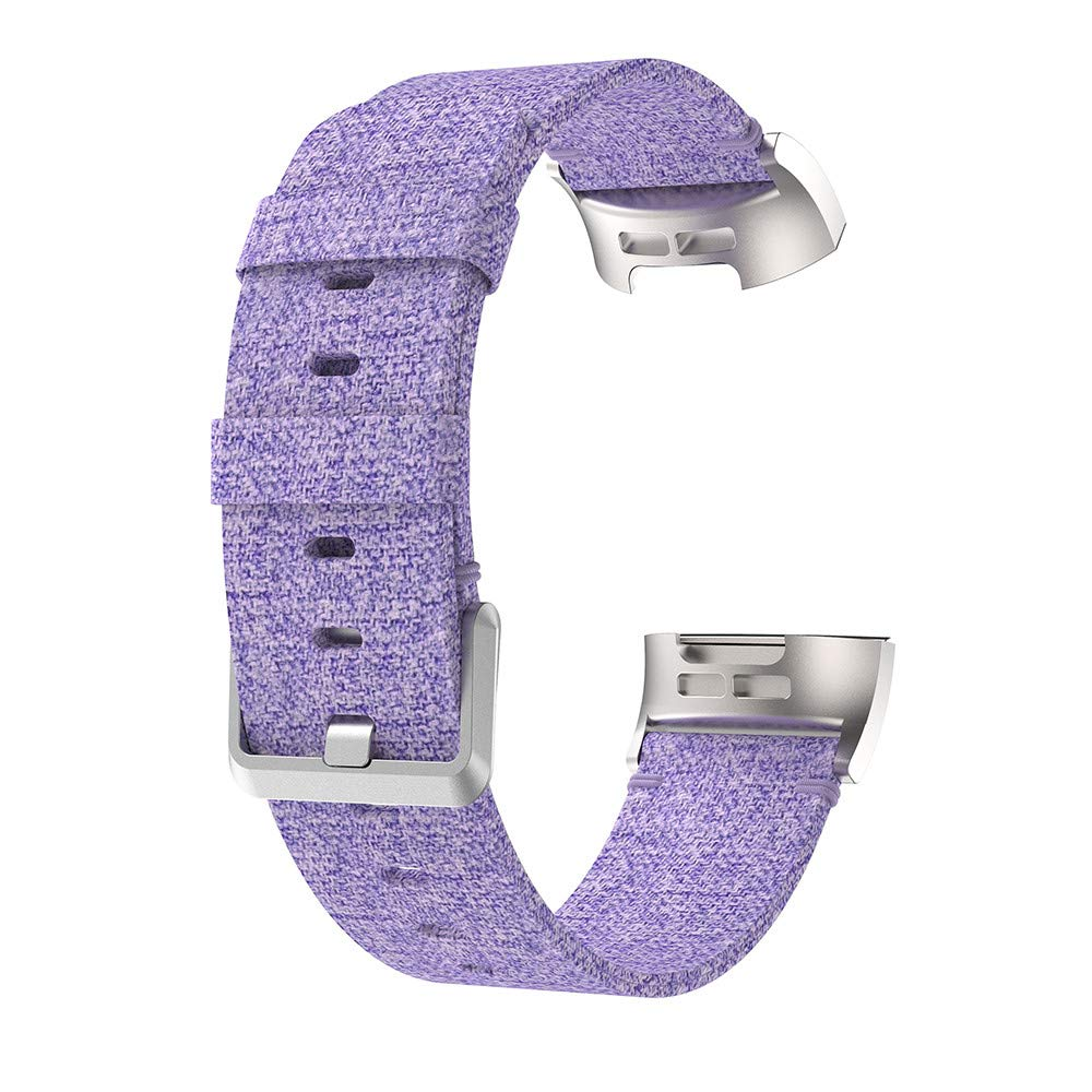 Fitbit Charge 3 Band,Lovewe Replacement Woven Canvas Fabric Watch Band Wrist Strap For Fitbit Charge 3 (Purple)