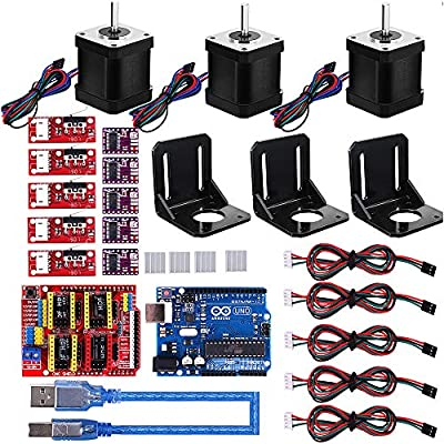 Oumij 3D Printer CNC Module Kit Nema 17 Stepper Motor+CNC Shield Board+UNO R3 Board+RAMPS Mechanical Switch Endstop+DRV8825 GRBL Stepper Motor Driver for CH340G Shield 3.0 Version
