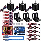 MYSWEETY 39PCS 3D Printer CNC Module Kit, Nema 17 Stepper Motor+CNC Shield Board+UNO R3 Board+RAMPS Mechanical Switch Endstop+DRV8825 GRBL Stepper Motor Driver for Arduino Professional 3D Printer Kit