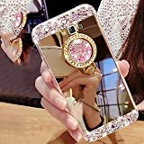 #9: Galaxy J3 Case,Express Prime Case,XIHUA Luxury Crystal Rhinestone Soft Rubber Bumper Bling Diamond Glitter Mirror Makeup Case with Ring Stand Holder for Samsung Galaxy J3 2016 / Amp Prime - Gold