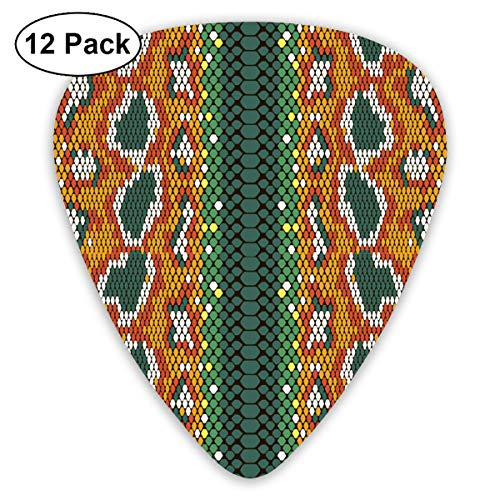 - Snake Skin Ultra Light 0.46 Medium 0.73 Heavy 0.96mm Printed Round Flat Soft Plastic Jazz Electric Acoustic Bass Guitar Pick Accessories Variety Pack