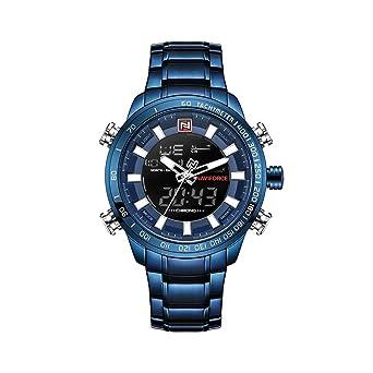 Reloj Naviforce de Acero Inoxidable Azul, Mecanismo de Cuarzo, Resistente al Agua, 3 Barras, Pantalla analógica y Digital, Estilo Deportivo + Caja de ...