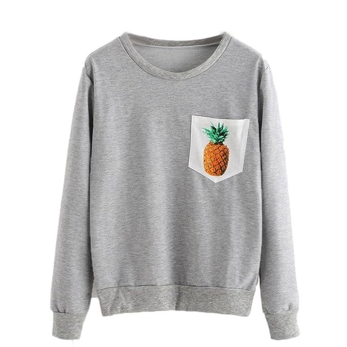 Sweatshirt damen Kolylong® Frauen Casual Ananas gedruckt Langarm Sweatshirt  Herbst Elegant Pullover Mode T-Shirt Loose Tops Bluse Oberteile Mantal: ...