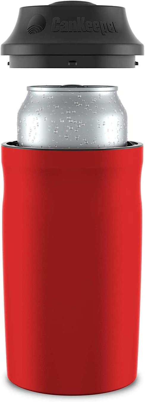 CanKeeper - Keep Your Can Cold For Hours - Double Walled and Vacuum Insulated Can Cooler - Lid Keeps Cold In, Dirt Out - FITS STANDARD 12oz CANS ONLY - Red