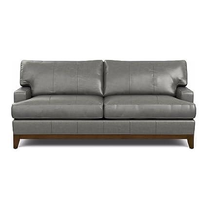 Ethan Allen Arcata Leather Sofa, 81u0026quot; Sofa, Omni Charcoal Top Grain  Leather
