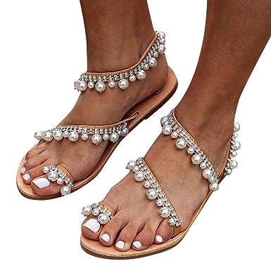 25964a221a23e Berimaterry Sandalias Planas de Estilo Bohemio para Mujer Piedras  Rhinestone Bohemia Blanco Marrón Tallas Grandes Zapatos de Cuero Cómodo Y  Elegante ...