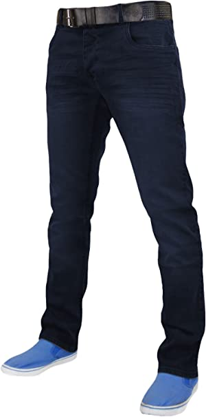 Mens Regular Fit Jeans With Free Belt Straight Leg Button Fly Denim Pants Black