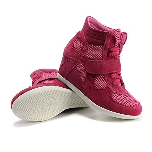 rismart Donna Zeppa Hook & Loop Caviglia Inteligente Tessuto Pelle Scamosciata Sneaker Scarpe 8522(Nero&rosa,EU38)
