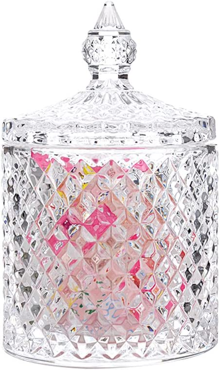 Rainie Love Home Basic Food Storage Organization Set-Crystal Diamond Faceted Jar With Crystal Lid,Suitable as A Candy Dish,Cookie Tin,Biscuit Barrel,Decorative Candy Jar