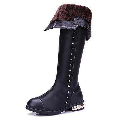 Kids Girls Riding Long Leather Boots Princess Knot Shoes Zipper Size EU 25-34 A