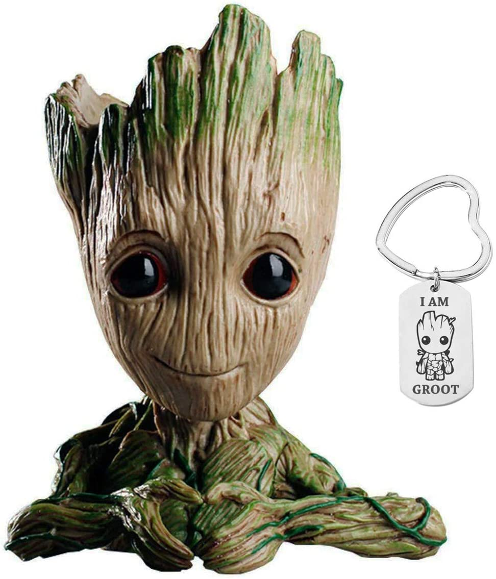 Baby Groot Flower Pot, Guardians of The Galaxy, Tree Man Pencil Holder or Planters with Drainage Hole Perfect for a Tiny Succulents Plants and Best Gift Idea, with I am Groot Keychain, 6