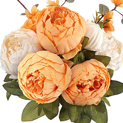 RERXN Artificial peony Vintage Silk Flower Bouquet Wedding Home Office Decor,Pack of 1 (New Yellow)