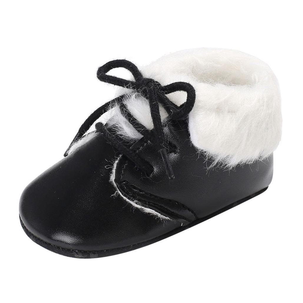 Amiley Toddler Little Kids Boy Girl Cozy Warm Snow Boots Velvet Soft Sole PU leather Bootie (Inches:4.3'', Black)