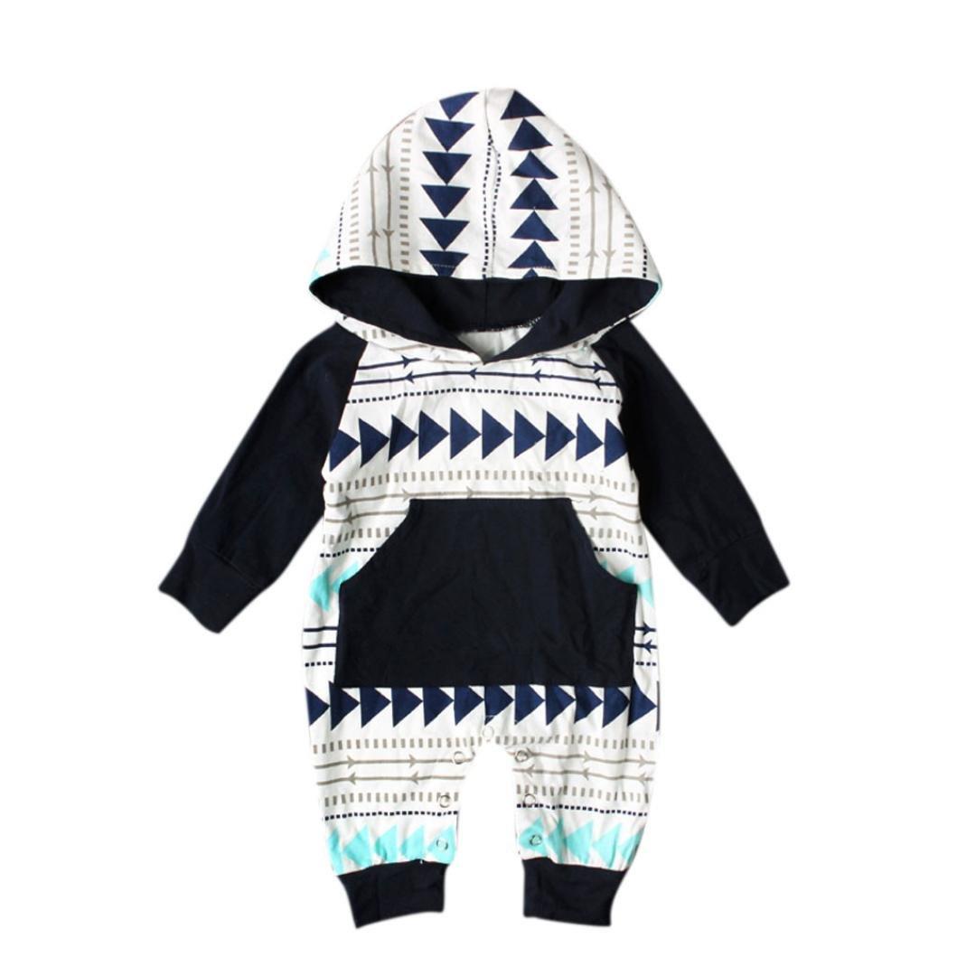 Culater® Newborn Infant Neonati maschi Ragazze Pagliaccetto Manica Lunga Vestiti Caldi Con Cappuccio Tuta Zipper Abbigliamento Outfit Bay Boy Girl