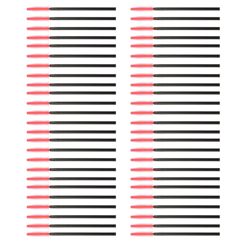 Approx. 50Pcs Disposable Eyelash Brush Mascara Wands Applicator Black and Red Generic