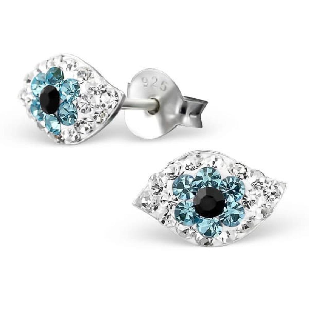 So Chic Bijoux © Boucles d'oreilles Enfant Oeil Protection Amulette Cristal Blanc Bleu Argent 925 LB43231