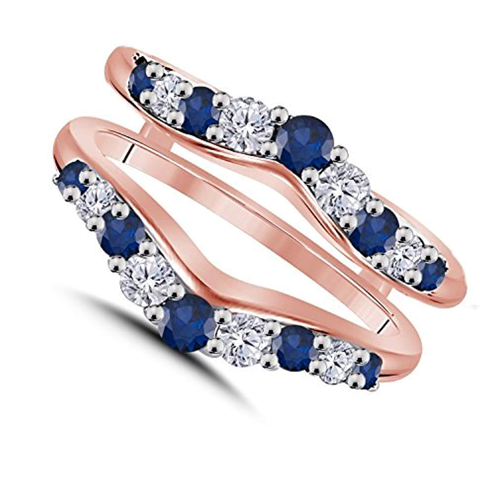 Trendzjewels 0.50 Ct Created Blue Sapphire & White Diamond Fashion Women's Jewelry Wedding Ring Guard Wrap Enhancer Black Gold Plated (Rose Gold Plated, 9.5) by Trendzjewels