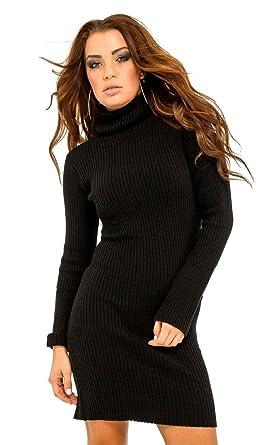 33ffed7817f4 Women's Stretch Warm Polo Turtle Roll Neck Ribbed Knit Dress 417 (Black