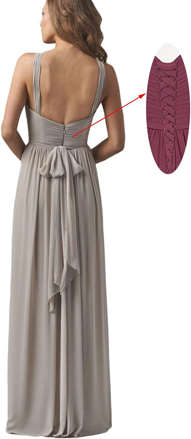 Womens Halter Ruched Bridesmaid Dresses Long Open Back Formal Evening Gowns B024