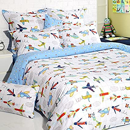 Lelva Kids Bedding For Boys Cartoon Airplane Print Bedding Teens Childrens Duvet Cover Set With Fitted