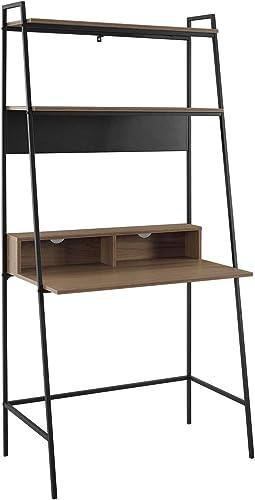 WE Furniture Living Room 36 Metal and Wood Ladder Desk – Mocha