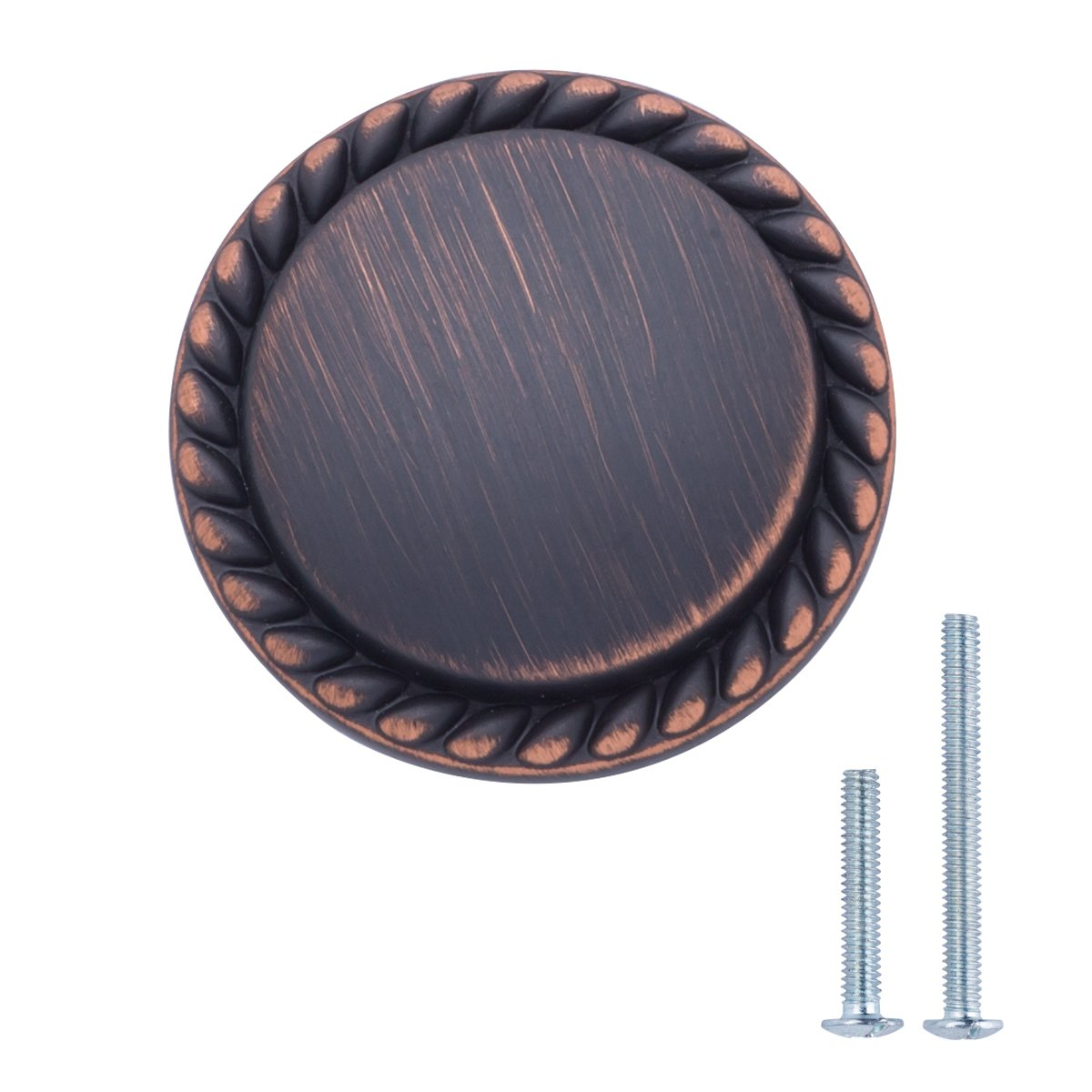 AmazonBasics Round Braided Cabinet Knob, 1.25'' Diameter, Oil Rubbed Bronze, 10-Pack