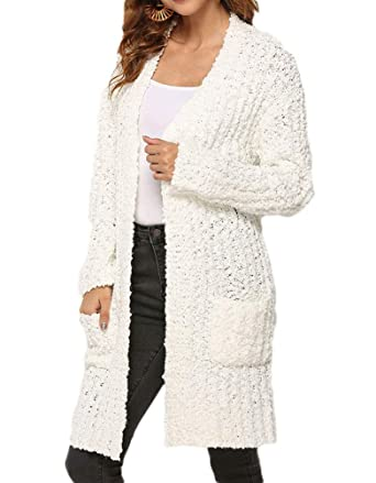 ce95c78a4c6 FOROLAV Women s Long Sleeve Open Front Popcorn Cardigan Sweater Coats with  Pockets at Amazon Women s Clothing store