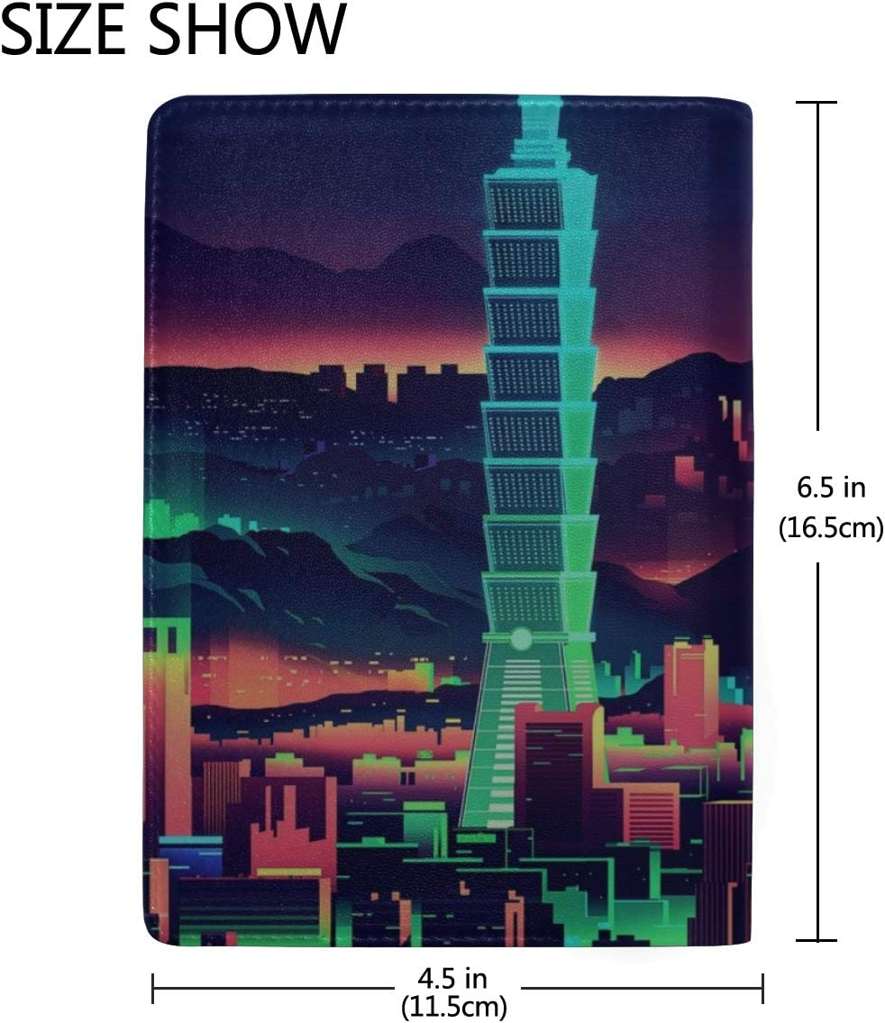 Tower Taipei Art Leather Passport Holder Cover Case Travel One Pocket