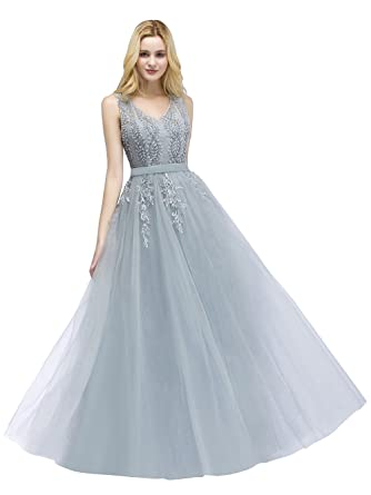 5e5bd757bca85 Babyonline Women's Luxury Double V-Neck Tulle Appliques Long Formal Prom  Dresses at Amazon Women's Clothing store: