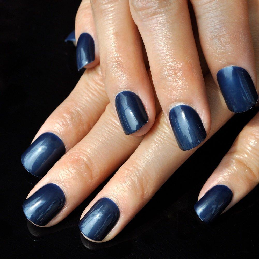 24pcs/bag Daily Wear Candy Fake Nail Dark Blue Shiny Nail Art False Nails Carnival Style Square Top Press On Nails 481 EchiQ