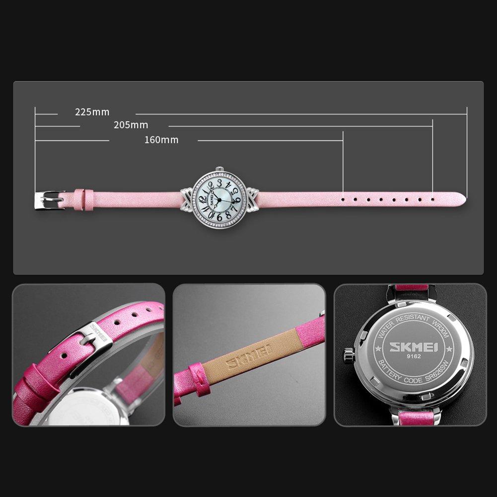 Luxury Brand Women Vintage Quartz Watch Fashion Female Crystal Leather Watch Girl Easy Reader Dress Watch (Light Blue) by Gosasa (Image #6)
