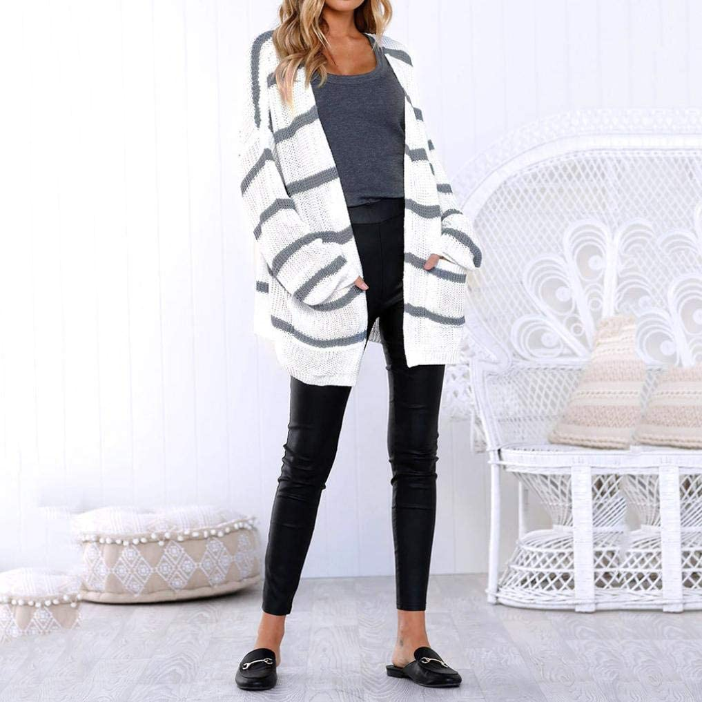 yuny Oud Mujeres Long Sleeve Striped Open frontal tejer Jumper ...