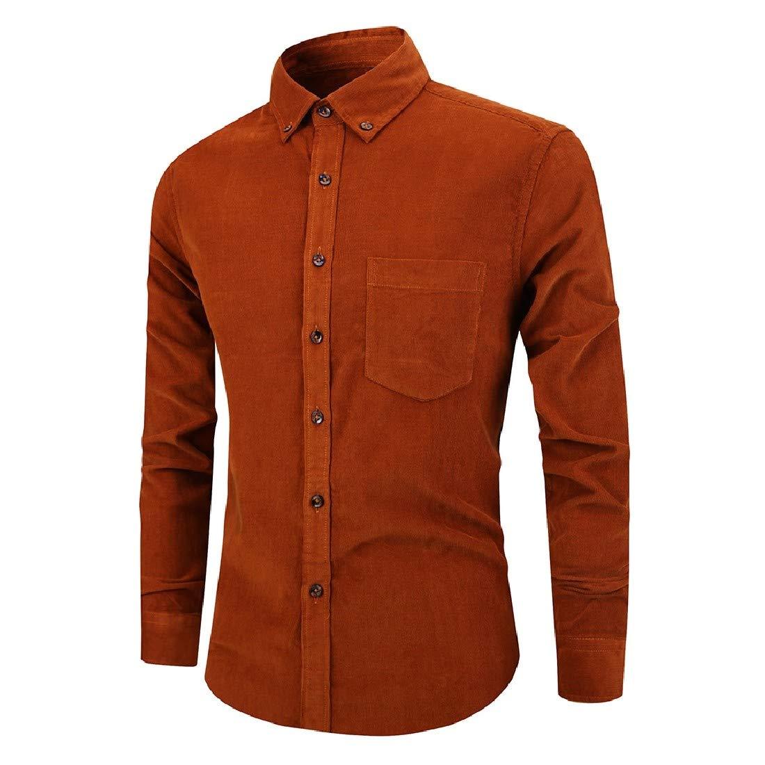 YUNY Men Corduroy Solid Color Long-Sleeve Buttoned Retrol T-Shirts Shirts AS1 XXS